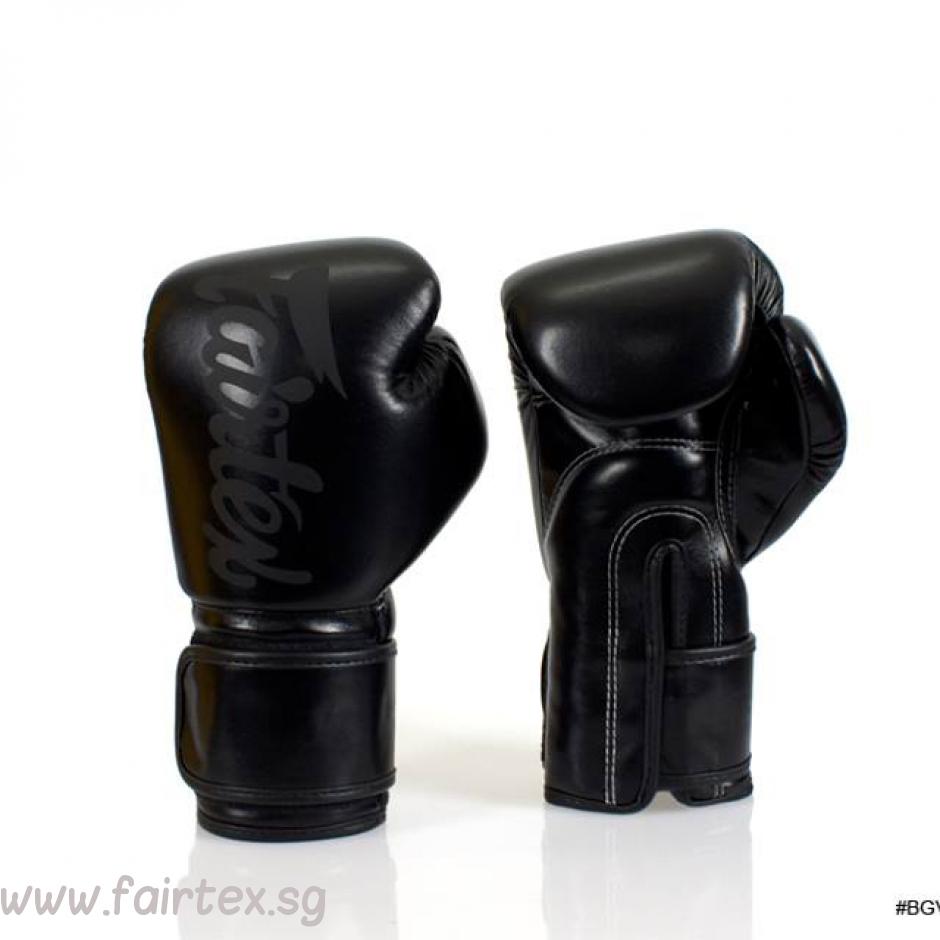 Black gloves singapore - Fairtex Long Cuff Boxing Gloves Black Black